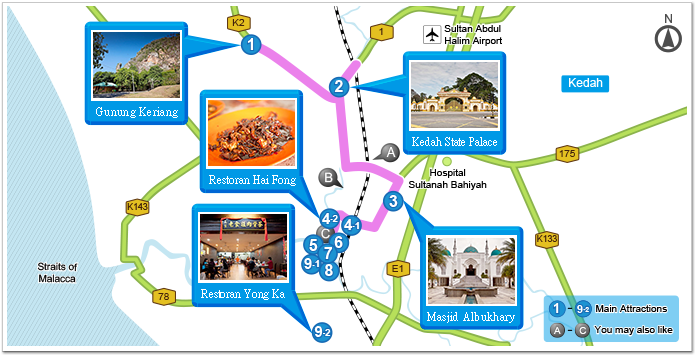 Wealthy Heritage Of Alor Setar Travel Itinerary Garmin - Alor setar map